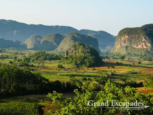 Landscape in the Vinales region in the west of Cuba - The famous Mogates, bumps 20-30 Meters high, rise around the lush valley, Vinales, Cuba
