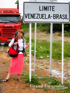 Heidi crossing the border from Venezuela to Brazil