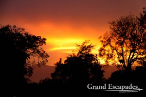 Sunset over Mountain of the Moon Lodge, Fort Portal, North Uganda, Africa