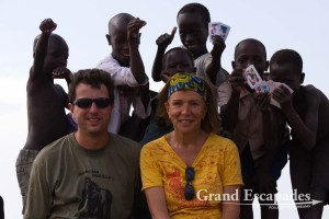 Gilles & Heidi in the Fisher village of Butiaba, on the shores of Lake Albert, North Uganda, Africa