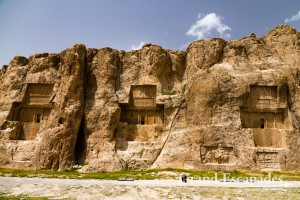 Naqsh-e Rostam - The four Achaemenid Tombs, carved in the Rock: Tomb of Darius II, Artaxerxes, Darius The Great, and Xerxes, Persepolis & Pasargadae, Iran