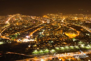 View from Teheran at night from the Milad Tower or Teheran Tower, Teheran, Iran