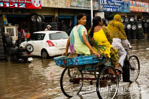 Monsoon rain and floded street in Amritsar, End of July, Penjab, India