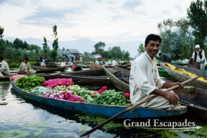 Floating Vegetable Market, early morning on Lake Dal, Srinagar, Kashmir, India