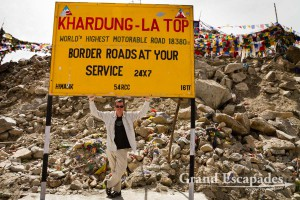 Khardung La, the highest motorable road in the world, at 5.602 meters, on the way to the Nubra Valley from Leh, Ladakh, India