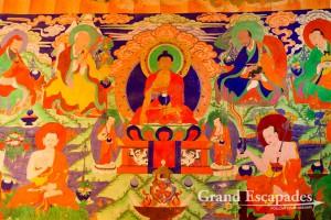 Wall paintings at the Summur Monastery, in the Nubra Valley, Ladakh, Jammu & Kashmnir, India