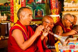 Domchot at Likir Monastery or Likir Gompa, with monks singing all day long, Ladakh, Jammu & Kashmnir, India
