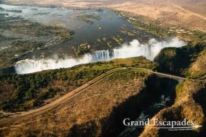 Helicopter Flight over Victoria Falls, Zimbabwe, Africa