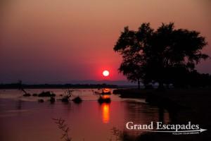 Sunset over the Zambezi, Mana Pools National Park, Zimbabwe, Africa