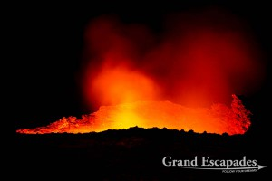 At night, crater of the most active volcano in Africa with a permanent lava lake, Erta Ale, Danakil Depression, Ethiopia