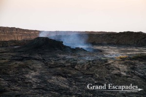 At dusk, crater of the most active volcano in Africa with a permanent lava lake, Erta Ale, Danakil Depression, Ethiopia