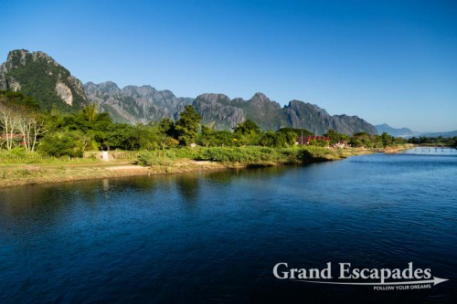 Vang Vieng's Limestone Karsts Landscape, along Nam Song or River Song