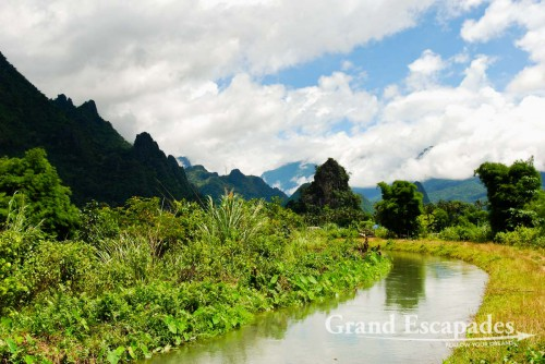 Vang Vieng's Limestone Karsts Landscape, along Nam Song or River Song, Laos