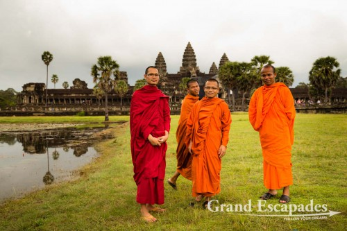 Monks in Front of Angkor Wat, Siem Reap