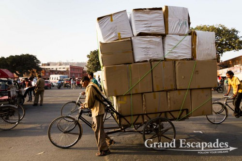 Heavily loaded bike, in the streets of Jaipur, the Pink City, Rajasthan, India