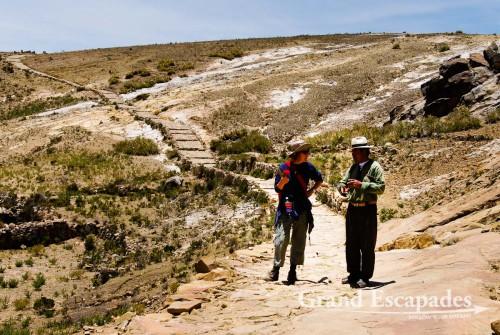 Heidi and our guide, Faustino, in the north part of the Isla del Sol, Lake Titicaca, Bolivia