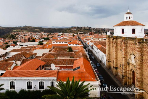View of Sucre from the top of the Iglesia de la Merced, Bolivia