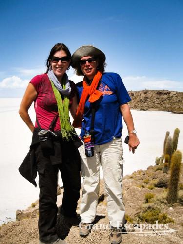The Incahuasi Island or Fish Island, in the middle of the Salar de Uyuni, Southwest Bolivia, South America