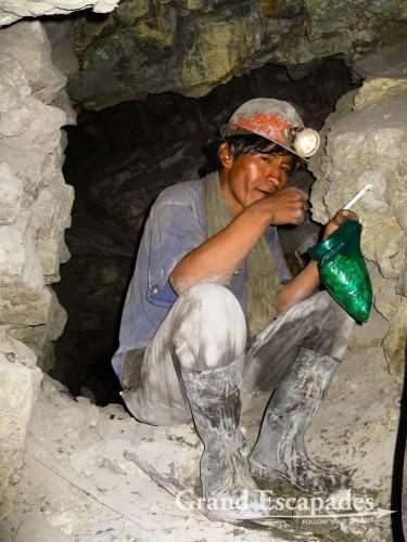"""The Mineros del Diabolo or """"Devils' Minors"""", inside the Cerro Rico, """"The mountain that eats men alive"""", Potosi, Bolivia, South America"""