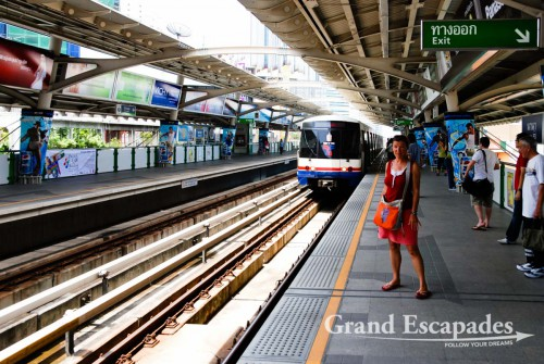 The new Sky Train zips you around the city in air conditioned carts in no time, Bangkok, Thailand