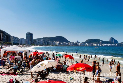 The world famous Copacabana Beach is as crowded as the Ipanema Beach, but with a totally different crowd ... Rio de Janeiro, Brazil