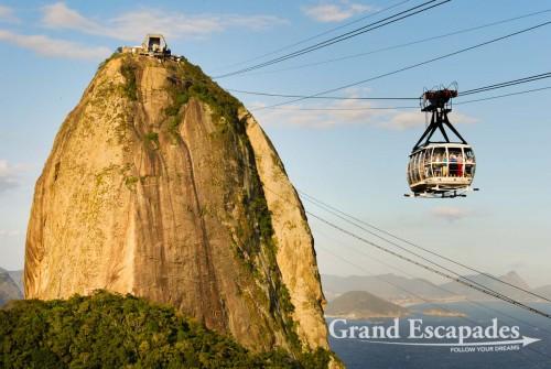 The cable car going up the Pao de Acucar at sunset ... Rio de Janeiro, Brazil