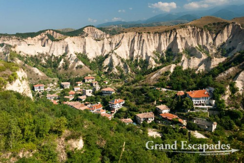 Sand-coloured cliffs around Melnik, wine growing area, south of Bulgaria, Europe