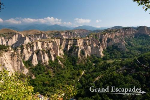 Sand-coloured cliffs around Melnik, wine growing area, south of Bulgaria, Europe