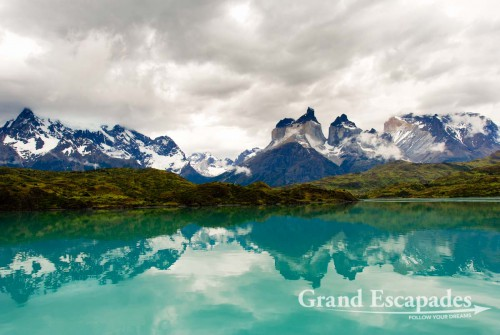 """Trekking the """"W"""" in Torres del Paine, Patagonia, Chile - Los Cuernos del Paine, view from a boat on a trip to Pehoe,Torres del Paine National Park, South Chile, South America"""