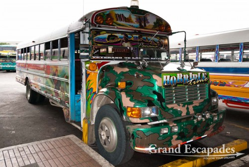 "Buses in Panama City, called ""Diabolos Rojos"" or Red Devils"