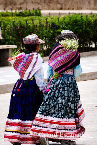 In Cabanaconde, two ladies in their traditional dress ...
