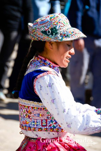 Local women in traditional dress selling souvenirs of wool or Alpaca - Cabanaconde, Colca Canyon, Peru