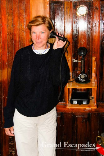 This original telephone on board of the Yavari is still working - The Yavari, built in England in 1862, Lake Titicaca, Peru
