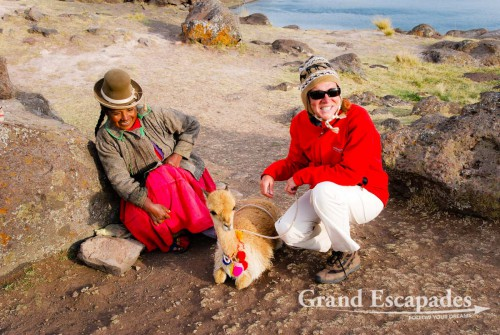 Heidi & Vicuna, Lake Umayo at 3.890 meters with a small island that is a sanctuary for vicunas, Peru