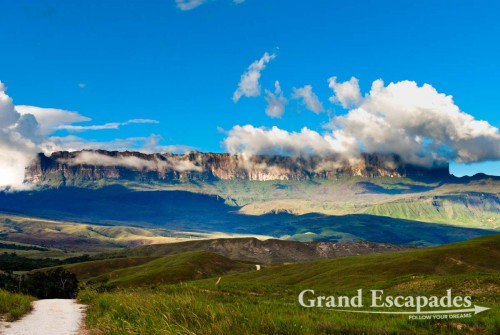 Trekking Mount Roraima, the highest Tepui or Tabletop Mountain, Venezuela - A rare view of Mount Roraima in the rain season