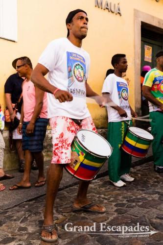 Samba School performing in the streets of teh Pelourinho, Salvador de Bahia, Brazil