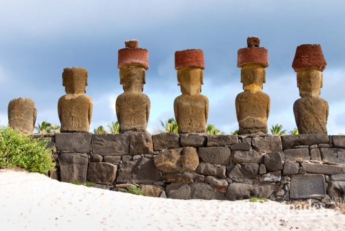 Moai, in Ahu Nau Nau, Rapa Nui or Easter Island, Pacific