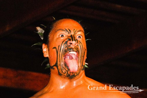 "Maori ""Haka"" (a dramatic dance with a lot of chanting, facial movements and tongue poking), North Island, New Zealand"