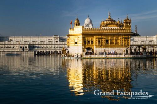 "Harmandir Sahib (Punjabi: ਹਰਿਮੰਦਰ ਸਾਹਿਬ) or Darbar Sahib, also referred to as the ""Golden Temple"", a prominent Sikh Gurdwara or Sikh temple, Amritsar, Punjab, India"