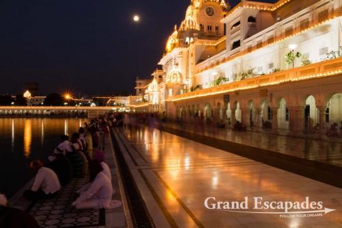 "Harmandir Sahib (Punjabi: ਹਰਿਮੰਦਰ ਸਾਹਿਬ) or Darbar Sahib, also referred to as the ""Golden Temple"", a prominent Sikh Gurdwara or Sikh temple, at night, Amritsar, Punjab, India"